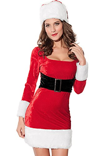 Jug&Po Women's 2PC Mrs Santa Claus Christmas Dress Costume One Size -