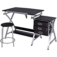 SKB Family Black/Pink Adjustable Drafting Table Drawing Desk w/Stool drafting table features padded stool pull-out drawers storage three slide-out drawers