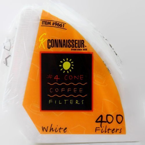 (Connaisseur # 4 Cone White Coffee Filters, 400 Count Pack )