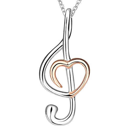 Sterling Silver Musical Notes Charm (Sterling 925 real silver music musical note melody and heart charm pendant necklace for women or girlfriend jewelry gift)