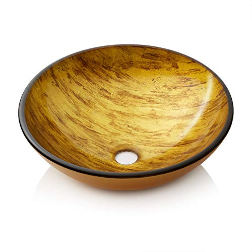 - Miligore Modern Glass Vessel Sink - Above Counter Bathroom Vanity Basin Bowl - Round Gold