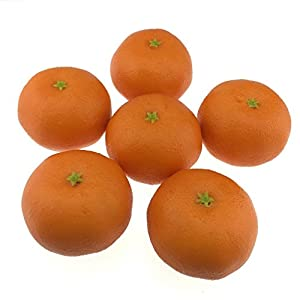 Gresorth 6pcs Artificial Orange Decoration Fake Tangerine Fruit Home House Kitchen Table Food Show Model 1