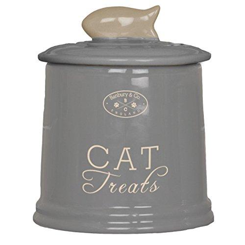 Banbury & Co Ceramic Cat Treat Storage Jar (One Size) (Gray) by Banbury & Co