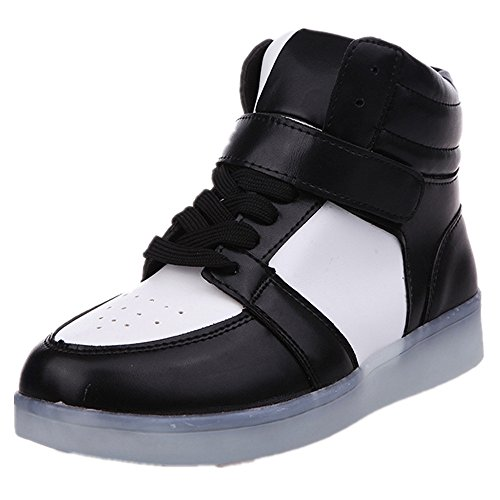 11 Lighting High-Top Light Up Shoes LED Sneakers for Women Girls Christmas Halloween Birthday Part ?Black 37/6 B(M) US Women / 4.5 D(M) US Men? (Eleven Miami Halloween)