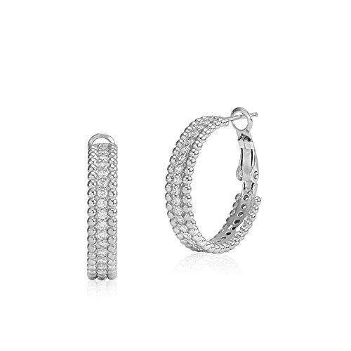 (MASSETE Sterling Silver 925 Beaded Edge Hoop Earrings with Cubic Zirconia 25mm)