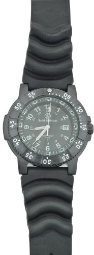 Smith & Wesson Men's SWW-357-R 357 Diver Swiss Tritium H3 Black Dial Rubber Band Watch