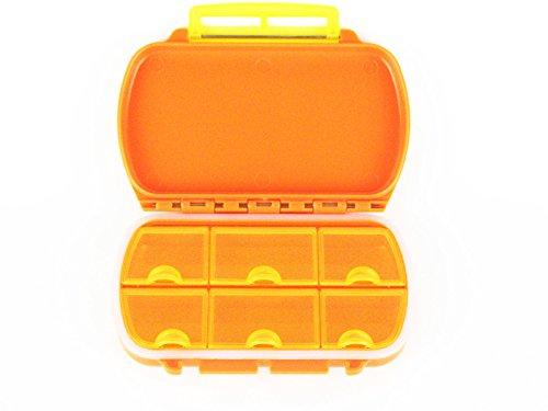 L&F Pill Box Organizer Case 6 Cells,Plastic (Orange)
