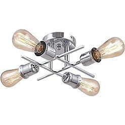 Interior Lighting PUSU Modern Semi Flush Mount Ceiling Lamp Vintage Metal Ceiling Light with Silver Arms Farmhouse Light Fixture ETL… modern ceiling light fixtures