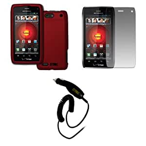 EMPIRE Motorola DROID 4 XT894 Rubberized Hard Case Cover (Red) + Screen Protector + Car Charger (CLA) [EMPIRE Packaging]