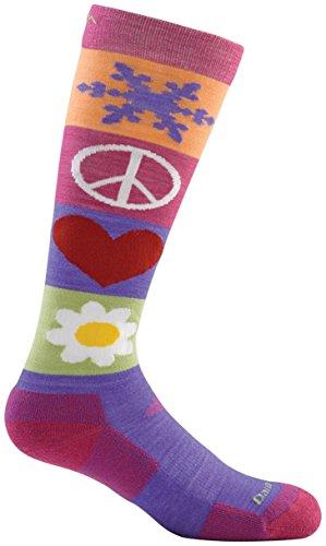 Darn Tough Merino Wool Ski Peace Love Snow Over-the-Calf Ultralight Sock - Junior's Majesty Medium