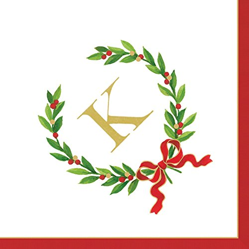 Entertaining with Caspari Christmas Laurel Wreath Monogram Initial K Paper Cocktail Napkins, Pack of 20