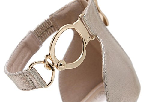 Rome High fashion metal Womens Size Shoes Sandals Fashion MNII button Gold Heel summer 5wIAXEq