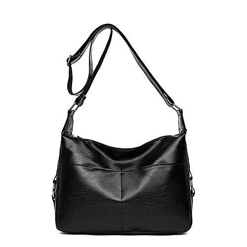 Bag Satchel Bolsa Blanda Gules La Pu De Mediana Edad De Meaeo Primavera Ocio Nueva Black Cuero Simple Y Verano A0qO0H7