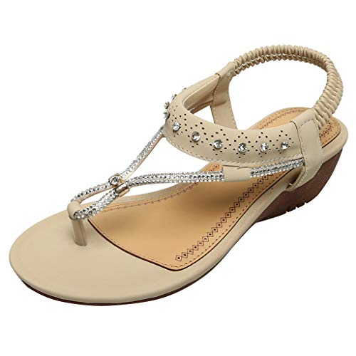 BODOAO Bohemian Beach Sandals Women Ladies String Bead Casual Wedges Elastic Band Shoes Beige