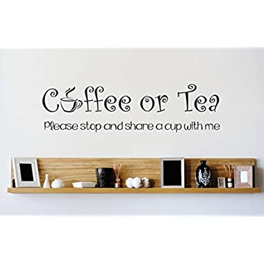 Design with Vinyl Zzz 7232 Coffee or Tea Please Stop and Share a Cup with Me Kitchen Stylish Vinyl Wall Decal Home Decoration Picture Art, 16-Inch x 40-Inch, Black