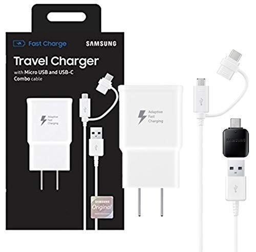 Official Samsung Adaptive Fast MicroUSB/USB-C Fast Charge Wall Charger - For S8/S9/+/Note8/Note9 (US Retail Packing Kit)