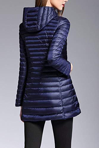 Caldo Donne Trapuntato Invernali Navy Cappotto Outdoor Manica Casuale Outerwear Piumino Fit Fashion Eleganti Giacca Lunga Donna Tempo Forti Leggero Trapuntata Zip Autunno Slim Taglie Libero Xn4BwRfOx