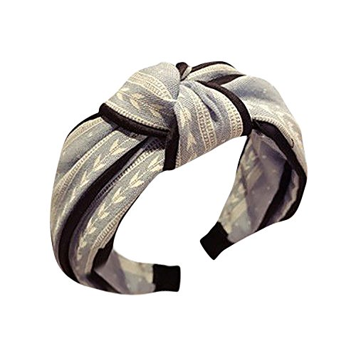 Vintage Leaf Print Wide Headband Knot Bow Hair Accessories