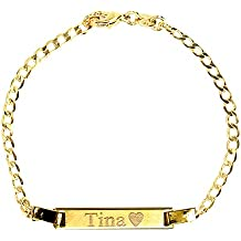 Tina's Jewelry Personalized Gold Name Plated Bracelet 4.5'' Free Engraved Bracelet for baby