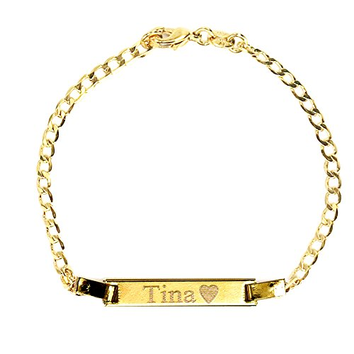Baby Engraved Bracelet - Tina's Jewelry Personalized Gold Name Plated Bracelet 4.5'' Free Engraved Bracelet for baby