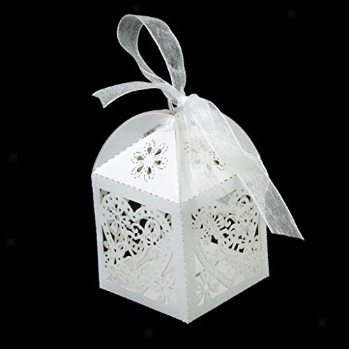 BROSCO 20Pcs Hollow Out Chocolate Candy Gift Boxes Wedding Party Favor Box with Ribbon | Color - Heart Pattern - Boxes Cone Heart Favor