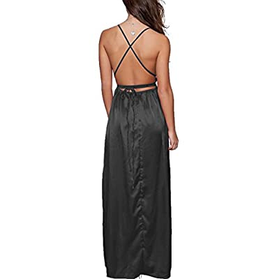Yimeili Women's Sexy Deep V Neck Backless Split Maxi Cocktail Long Party Dresses(30Color S-XXL): Clothing