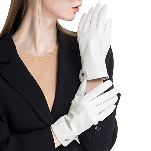 CHULRITA Women's Genuine Italian Nappa Leather Gloves Winter Warm Daily Dress Driving Gloves with Wool Lining, White L