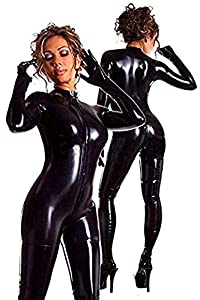Women's Wet Look Zipper Front to Crotch Mock Neck Catsuit S-5XL Halloween Costume with Gloves (M, Black)