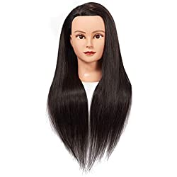 """Training Head 26""""-28"""" Mannequin Head Hair Styling Manikin Cosmetology Doll Head Synthetic Fiber Hair Hairdressing Training Model Free Clamp (1711LB0220)"""