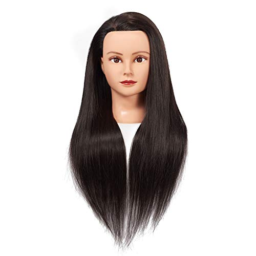 "Training Head 26""-28"" Mannequin Head Hair Styling Manikin Cosmetology Doll Head Synthetic Fiber Hair Hairdressing Training Model Free Clamp (1711LB0220)"
