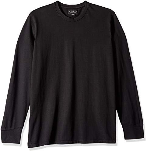 Velvet by Graham & Spencer VELVET's Men Hampton Long Sleeve Crew Shirt in Cotton Jersey, Black Large ()