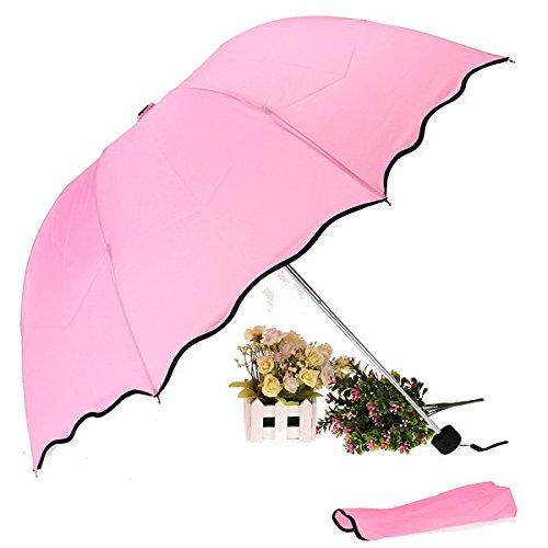 Somkitfahbangkok Multi Color Flouncing Dome Parasol Folding Sun/Rain/Wind Umbrella (Pink)