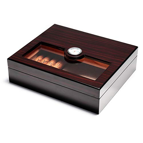 Woodronic Glasstop Cigar Humidor, Ebony with Spanish Cedar Wood Lined for 25 Cigars, Perfect Desktop Display Cigar Box Set with Hygrometer and Humidifier, H-5027EB ()