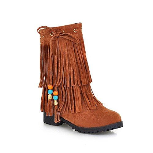 BalaMasa Womens Bead Tassels Bandage Frosted Boots Brown 2kHKcpDtX