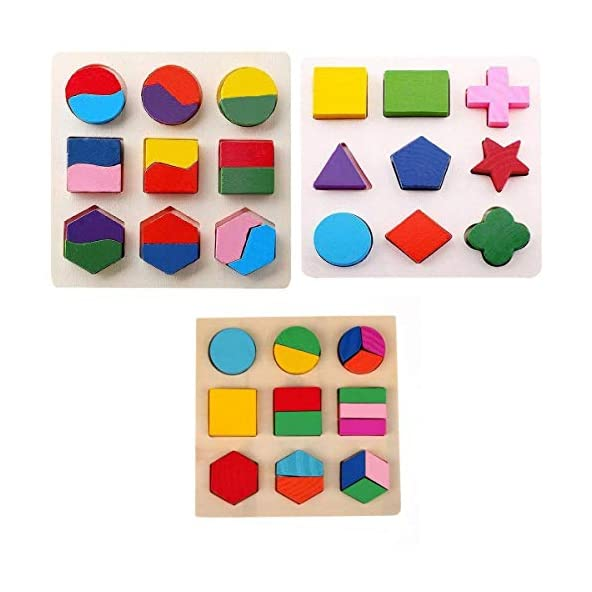 Assemble Wooden Geometry Matching Puzzles Stacking Building Blocks Early Educational Toys (Set of 3 Boards)