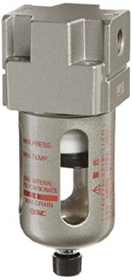 SMC AF Series Compressed Air Filter, Removes Particulate, Polycarbonate Bowl with Bowl Guard, BSPT