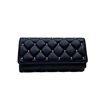 VRLEGEND Clutch Purse Handbag Evening Bag Women Leather Wallet Purses Party (Black)