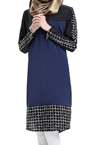 Splicing Blue Women Coolred Abaya Dress Long Sleeve Muslim Plaid Crewneck Navy nS0qwxP01
