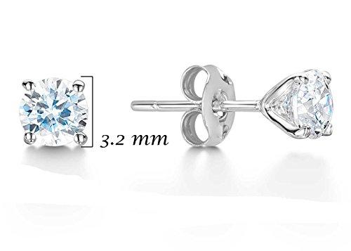Précieuses Strass UK-Boucles d'oreilles clous avec diamant Solitaire 0,25 carat avec une blanc 9 carats Teinte certificat Par des GIE