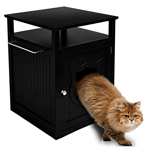 Sweet Barks Nightstand Pet House, Litter Box Furniture Indoor Pet Crate, Litter Box Enclosure, Cat Washroom, Black (Litter Cabinet Kitty)