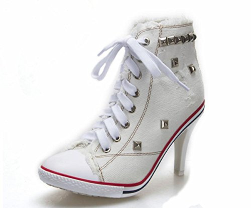 Lace Fashion Pump White Canvas Damen High Heels High JQNSX Sneaker Up Schuhe Wedges Schuhe ZnfRaw6