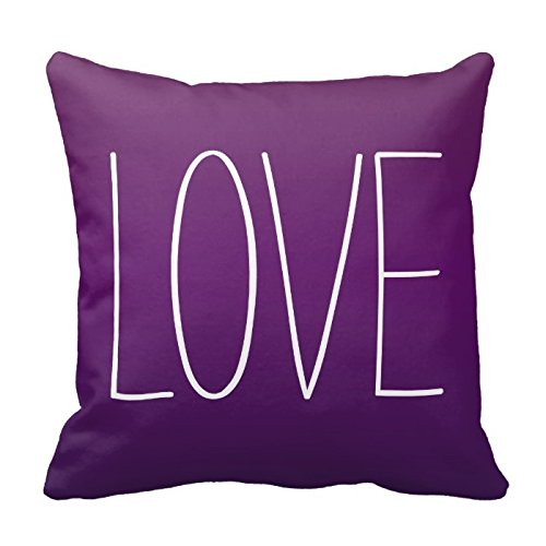 L-O-V-E Letters in White on Purple Decorative Throw Pillow Cover Cushion Case Home Square 18 X 18 Inches Two Sides