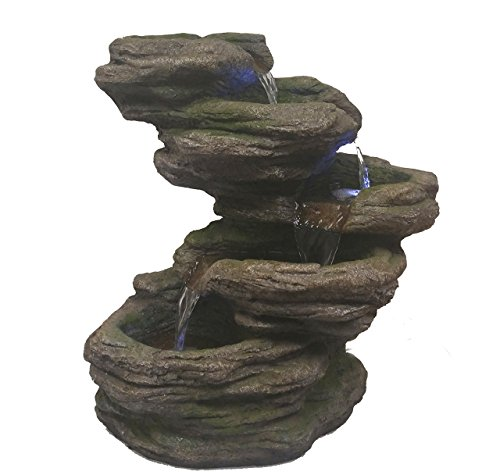 Major-Q Decoration Fengshui Rock Like Waterfall Fountain with LED Light (style2), 22'' H (Light Celestial Quartz)