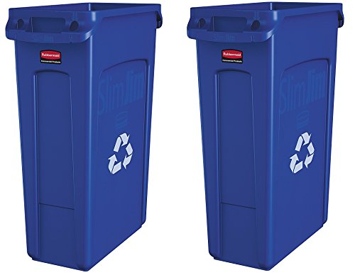 Rubbermaid Commercial Slim Jim Recycling Container with Venting Channels, Plastic, 23 Gallons, Blue (354007BE) (2 Cans (23 Gallons))