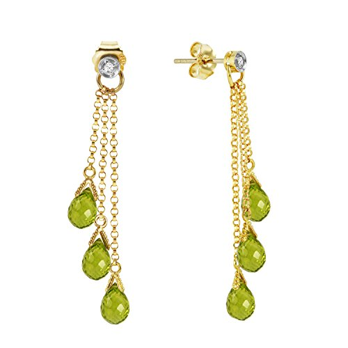 10.53 Carat 14k Solid Gold Chandelier Earrings with Genuine Diamonds and Natural Peridots