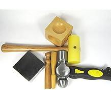 Basic Metal Stamping Kit Tools - Includes Steel Block ,Ball Peen Hammer, Plastic Mallet, Wood Dapping Block