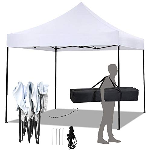 FDW Pop Up Canopy 10x10 Pop Up Canopy Tent Party Tent Ez Up Canopy Sun Shade Wedding Instant Folding Protable Better Air Circulation Outdoor Gazebo with Backpack Bag White