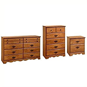 south shore prairie dresser chest and nightstand set in country pine kitchen dining. Black Bedroom Furniture Sets. Home Design Ideas
