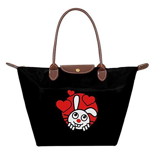 School Janitor Costume (Rabbit Folding Dumpling Handbag Nylon WaterProof Ladies Tote Shopping Bag Black Customize Beautiful)