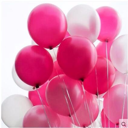 72Pcs/Pack 12 Inch 2.8g Pearl Balloon Thicked Latex Balloons Party Decor Wedding Birthday Helium Thickening Party Balls (Pink&Red Rose&silver)